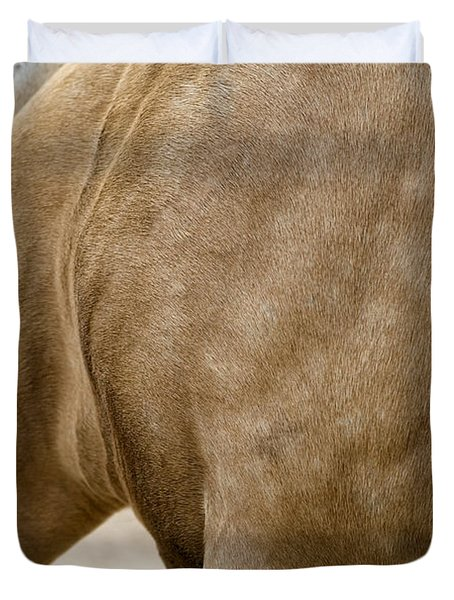 Duvet Cover featuring the photograph Horse Bending Neck by Lorraine Devon Wilke