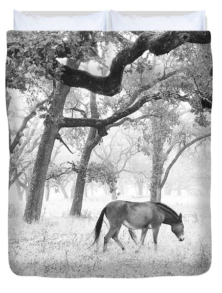 Duvet Cover featuring the photograph Horse In Foggy Field Of Oaks by CML Brown