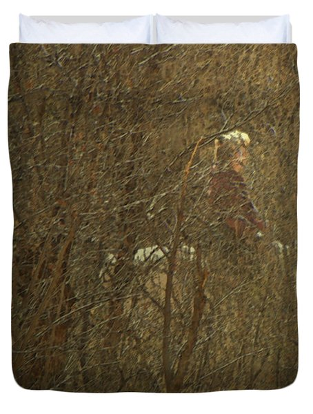 Horseback In The Garden Duvet Cover by Lenore Senior
