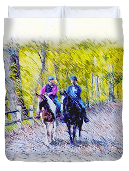 Horseback Riding  Duvet Cover by Bill Cannon