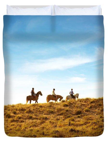 Horseback Riding Duvet Cover by Carlos Caetano