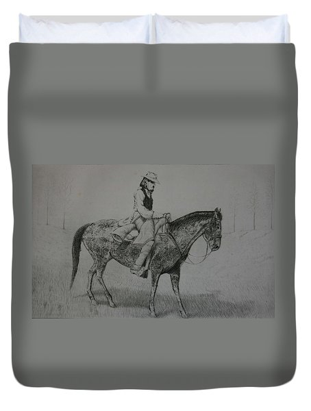 Duvet Cover featuring the drawing Horseman by Stacy C Bottoms