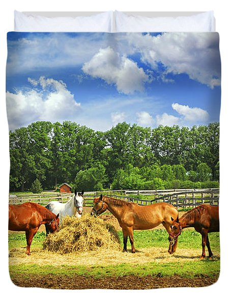 Horses At The Ranch Duvet Cover