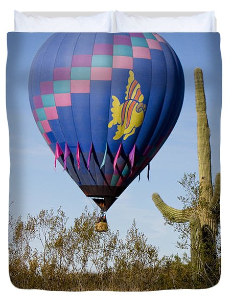Hot Air Balloon Flight Over The Lush Arizona Desert Duvet Cover by James BO  Insogna
