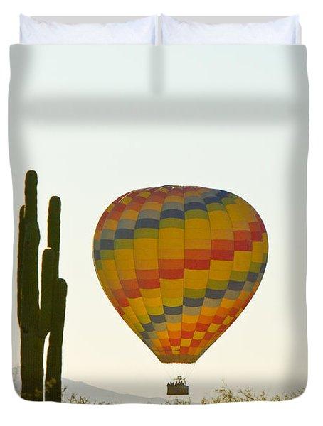 Hot Air Balloon In The Arizona Desert With Giant Saguaro Cactus Duvet Cover