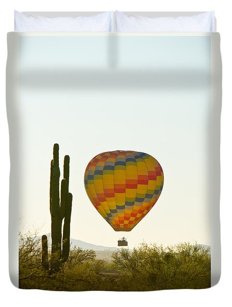 Hot Air Balloon In The Arizona Desert With Giant Saguaro Cactus Duvet Cover