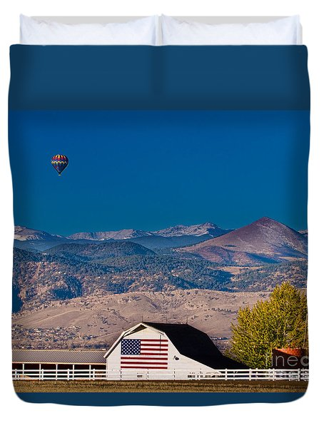 Hot Air Balloon With Usa Flag Barn God Bless The Usa Duvet Cover by James BO  Insogna