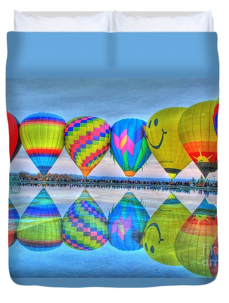Hot Air Balloons At Eden Park Duvet Cover