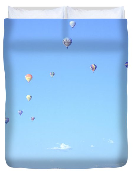 Hot Air Balloons Over Omaha Duvet Cover by John Bowers
