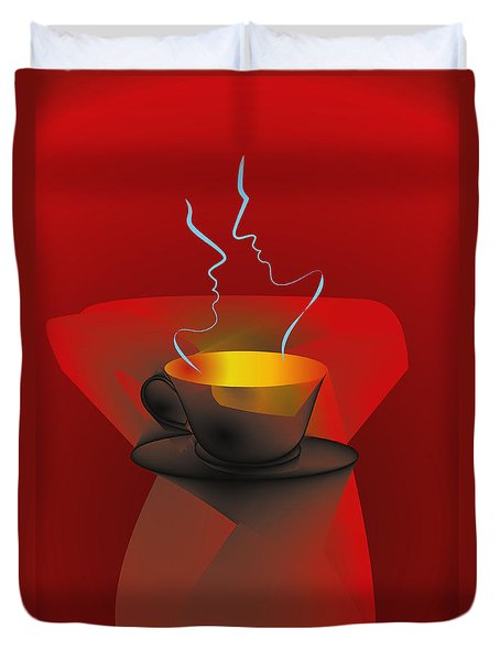 Duvet Cover featuring the digital art Hot Coffee by Leo Symon