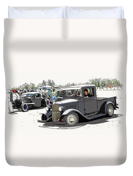 Hot Rod Show Trucks Duvet Cover by Steve McKinzie