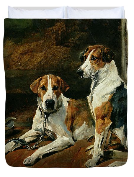 Hounds In A Stable Interior Duvet Cover by John Emms