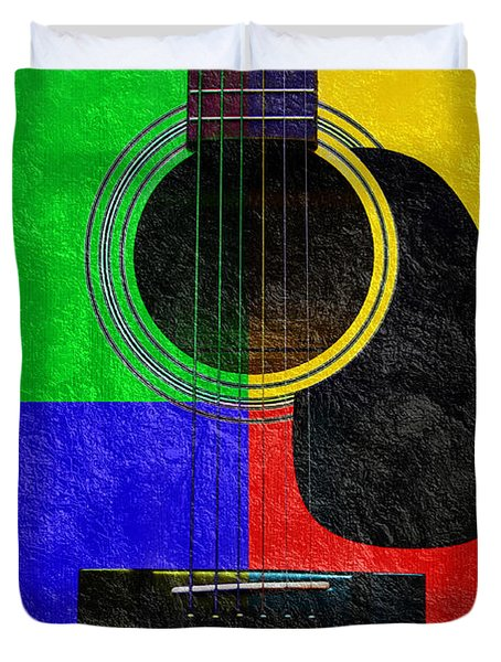 Hour Glass Guitar 4 Colors 1 Duvet Cover by Andee Design