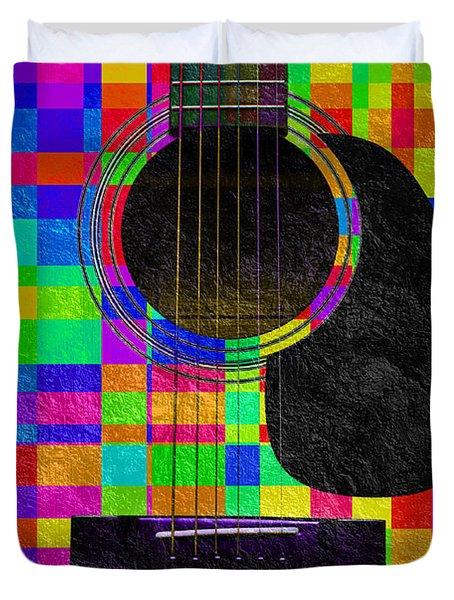 Hour Glass Guitar Random Rainbow Squares Duvet Cover by Andee Design
