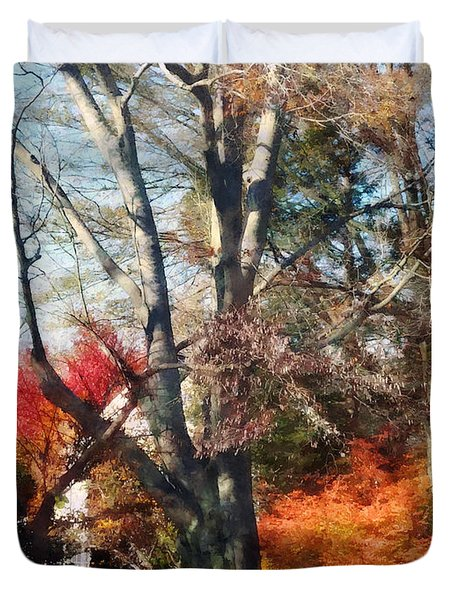House With Picket Fence In Autumn Duvet Cover by Susan Savad
