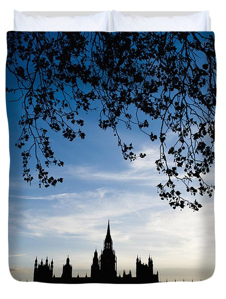Houses Of Parliament Silhouette Duvet Cover by Axiom Photographic