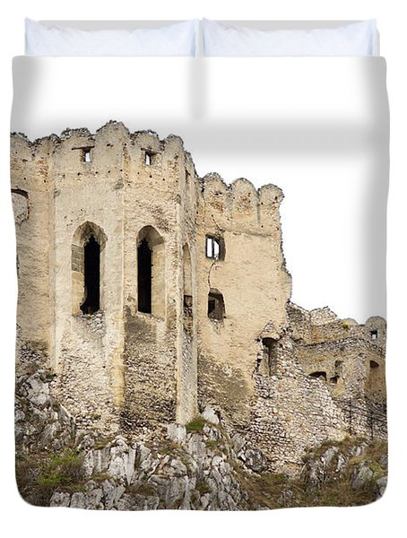 Duvet Cover featuring the photograph Hrad Beckov Castle by Les Palenik