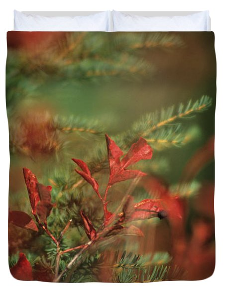 Huckleberry Leaves In Fall Color Duvet Cover by One Rude Dawg Orcutt