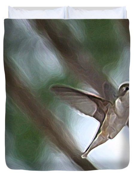 Duvet Cover featuring the photograph Hummingbird by Donna  Smith