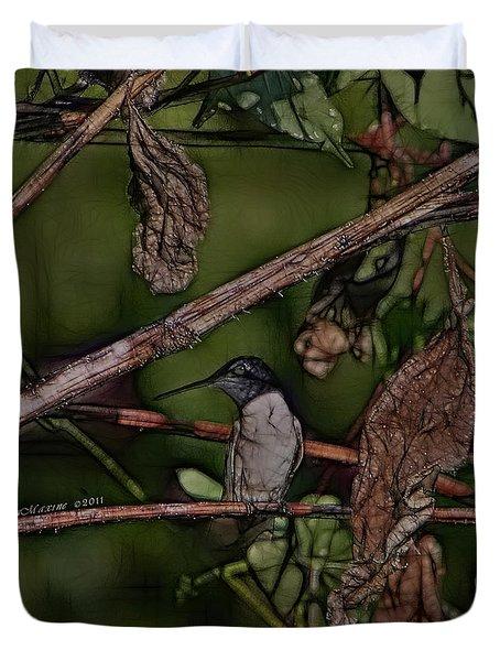 Hummingbird Waiting For Dinner Duvet Cover by EricaMaxine  Price