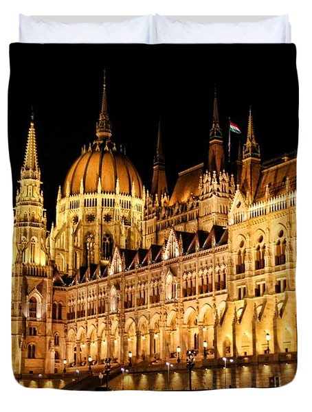 Hungarian Parliament Building Duvet Cover by Mariola Bitner