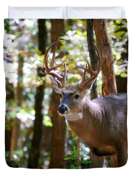 Duvet Cover featuring the photograph Hunters Dream 10 Point Buck by Peggy Franz