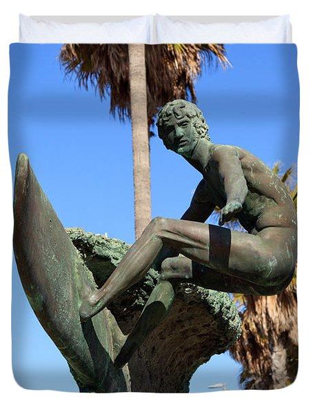 Huntington Beach Surfer Statue Duvet Cover by Paul Velgos