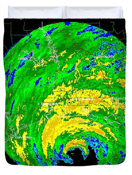 Hurricane Rita, Wfo Radar, 2005 Duvet Cover by Science Source