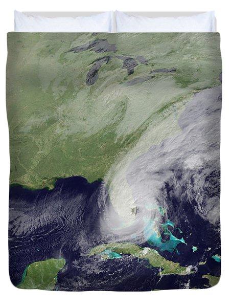 Hurricane Wilma Crosses Florida Duvet Cover