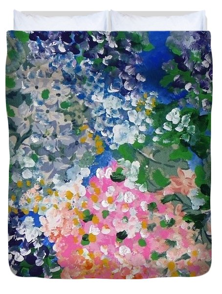 Duvet Cover featuring the painting Hydrangeas I by Alys Caviness-Gober