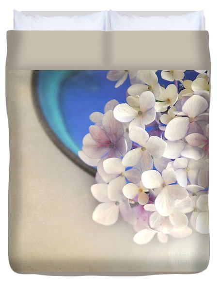 Hydrangeas In Blue Bowl Duvet Cover