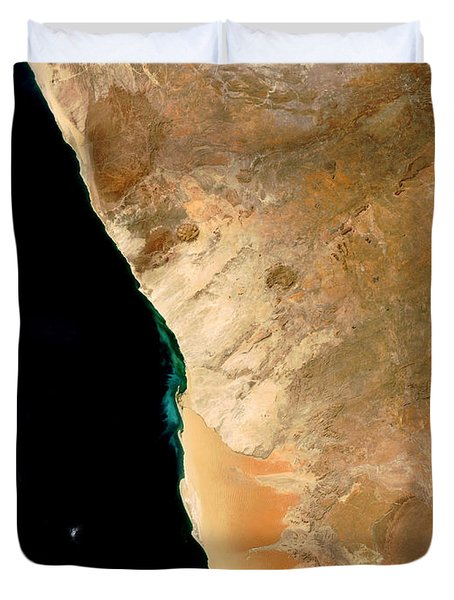Hydrogen Sulfide Eruption Off Namibia Duvet Cover by Nasa