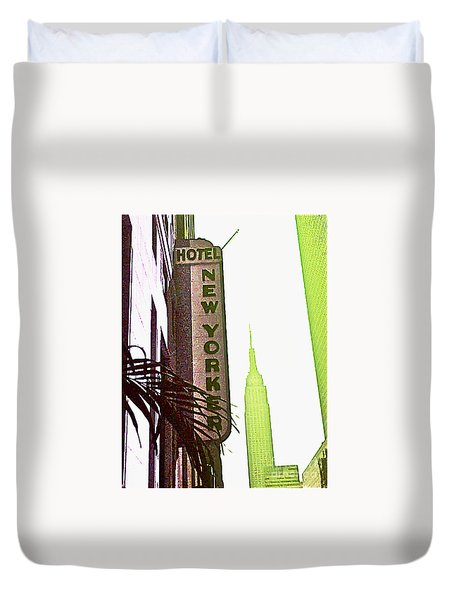 Duvet Cover featuring the photograph I Love New York by Beth Saffer