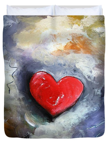 Duvet Cover featuring the painting I Love You by Gary Smith