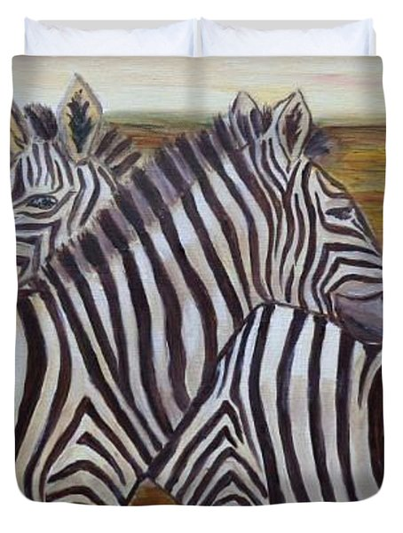 Duvet Cover featuring the painting I Think Its This Way by Julie Brugh Riffey
