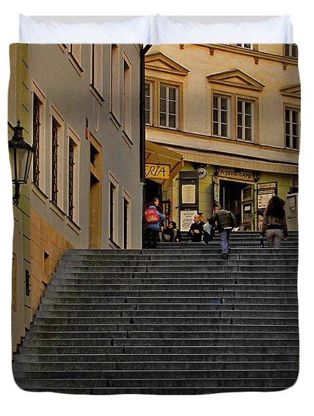 I Walked The Streets Of Prague Duvet Cover by Christine Till