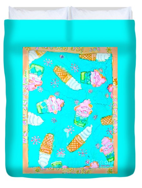 Duvet Cover featuring the painting Ice Cream I Scream by Beth Saffer