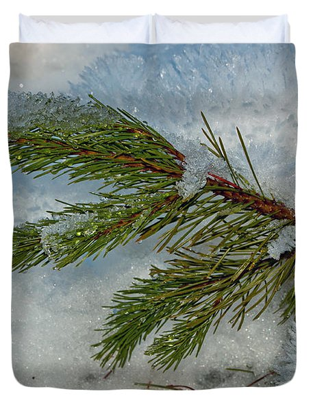 Duvet Cover featuring the photograph Ice Crystals And Pine Needles by Tikvah's Hope