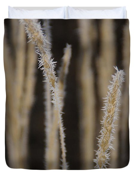 Ice Crystals On Tall Grass Duvet Cover by Mick Anderson