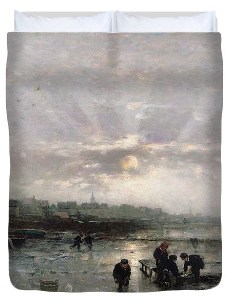 Ice Fishing Duvet Cover by Ludwig Munthe