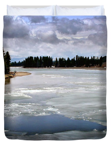 Ice On The Yellowstone River Duvet Cover by Ellen Heaverlo