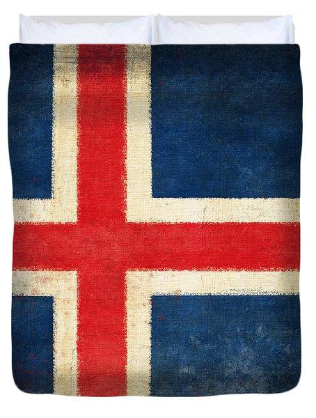 Iceland Flag Duvet Cover by Setsiri Silapasuwanchai