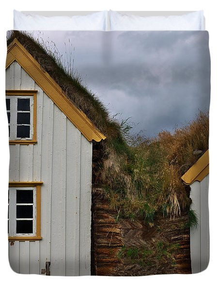 Icelandic Turf Houses Duvet Cover