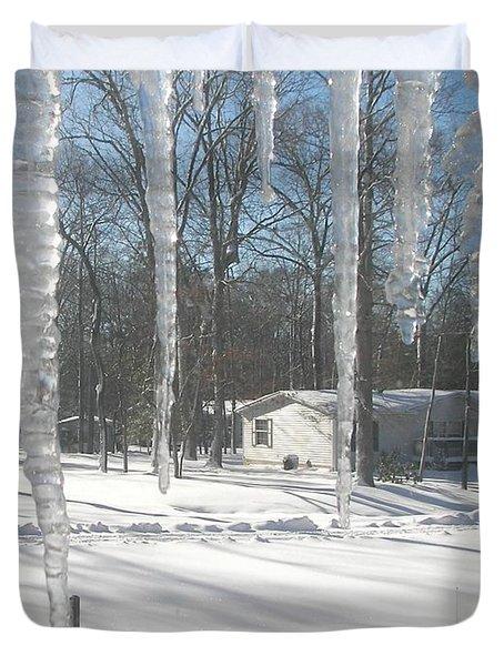 Duvet Cover featuring the photograph Icicles Through The Window Glass by Pamela Hyde Wilson