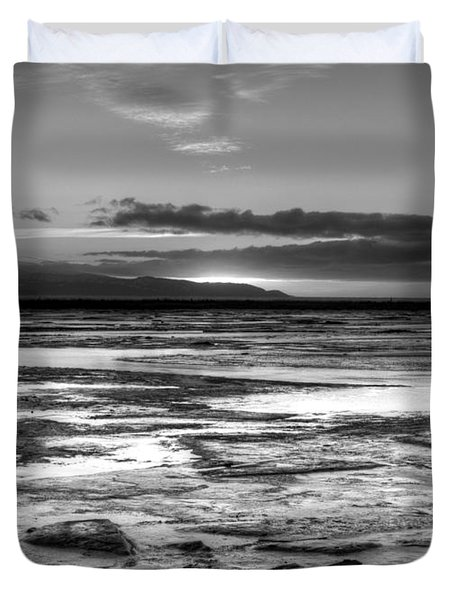Duvet Cover featuring the photograph Icy Bay At Sunset by Michele Cornelius