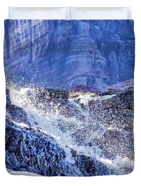 Duvet Cover featuring the photograph Icy Cascade by Albert Seger