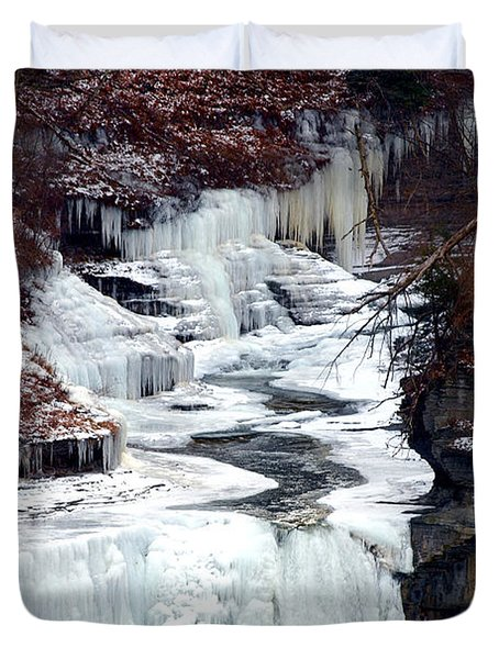 Icy Waterfalls Duvet Cover by Paul Ge