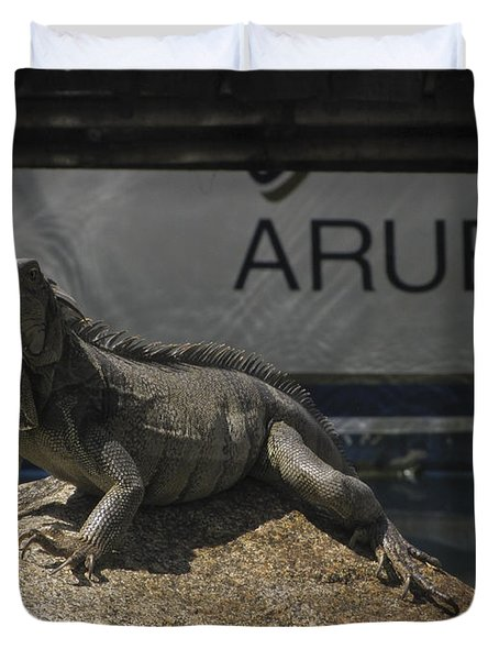 Duvet Cover featuring the photograph Iguana by David Gleeson