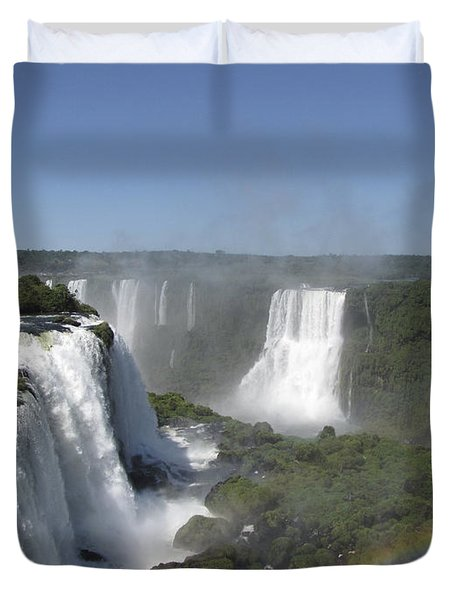 Duvet Cover featuring the photograph Iguazu Falls by David Gleeson