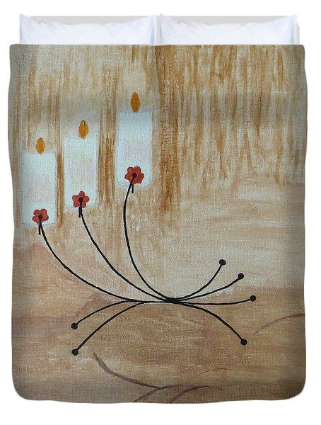 Duvet Cover featuring the painting Illumination by Sonali Gangane